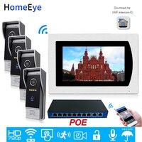 SIP Video Door Phone Wifi Video Intercom Smart Phone App Unlock 4 Doors Home Access Control System Motion Detection Touch Screen