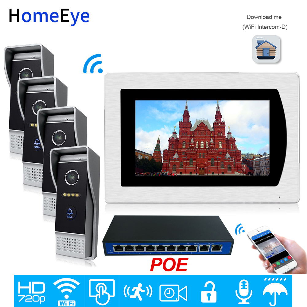 SIP Video Door Phone Wifi Video Intercom Smart Phone App Unlock 4 Doors Home Access Control System Motion Detection Touch Screen