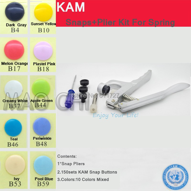 { KAM 200 sets 10 Colors Mixed } with KAM pliers 20 T5 12mm Glossy Plastic Snap Button Snap Pliers Kit Fastener For Spring n