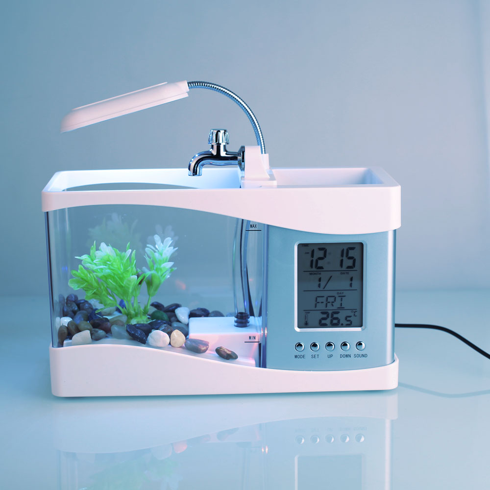Petit Aquarium Aquarium poisson rouge mode réveil Mini Aquarium Durable calendrier perpétuel thermomètre poisson rouge bol lampe - 3