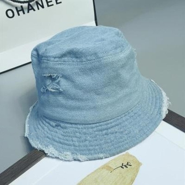 f1700550c33 2017 Fashion Unisex Floppy Ripped Denim Flat Bucket Hat Stylish Women Bob  Cap Men Hip Hop