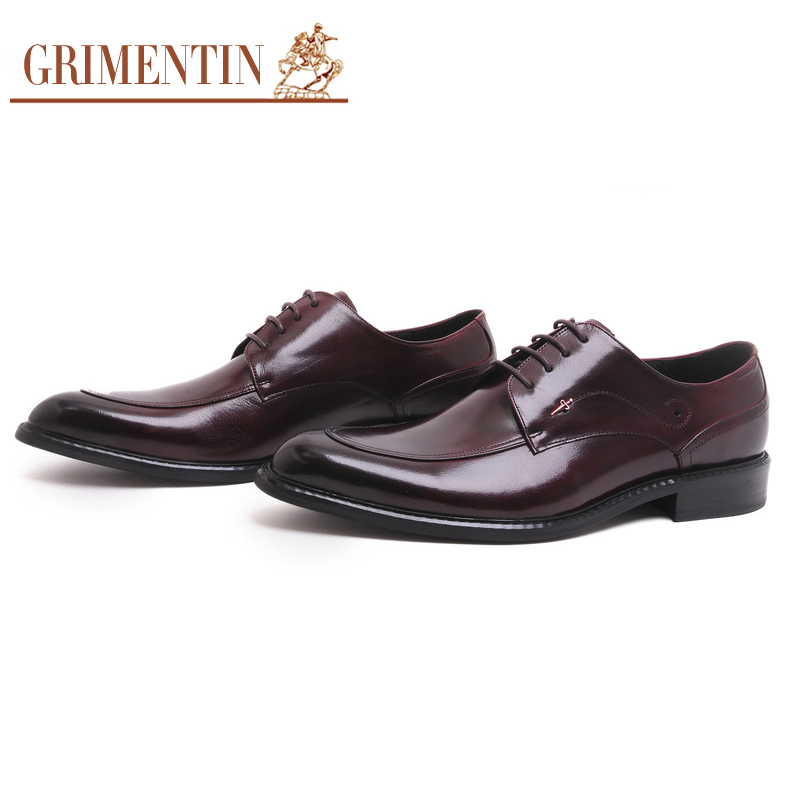 GRIMENTIN Wedding Shoes Men High Top Genuine Leather Luxury Designer Pointed Toe Dress Shoes Lace Up Formal Mens Shoes SE2 hot sale mens genuine leather cow lace up male formal shoes dress shoes pointed toe footwear multi color plus size 37 44 yellow
