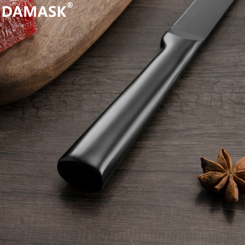 DAMASK Chef Knife Set 4Cr14mov Stainless Steel Knives Cleaver Santoku Utility High Hardness Black Kitchen Knife Cooking Tools in Kitchen Knives from Home Garden