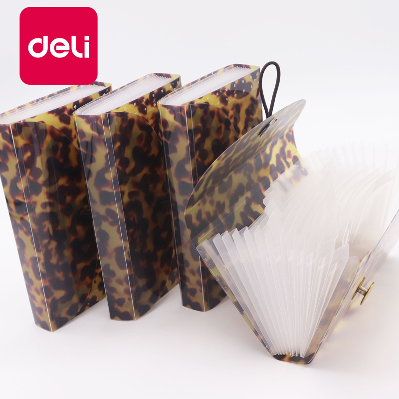 Deli 20PCS Leopard Organ Bag Pack A5 Organizer Box Paper Holder Document Folder Multi-function File Storage Clip Mini Portable