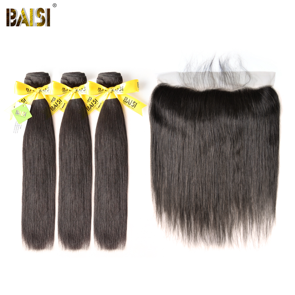 BAISI Hair Brazilian Virgin Straight Hair 100% Unprocessed Human Hair10-28 inch, 3 Bundles and 13x4 Frontal, Free Shipping