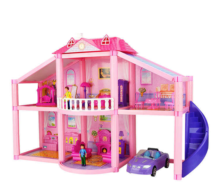 Big House For Dolls Plastic Miniature House Models Kits Diy Toy Play Doll Accessories Villa Car Bed Man Kids Girls Dollhouse Toy