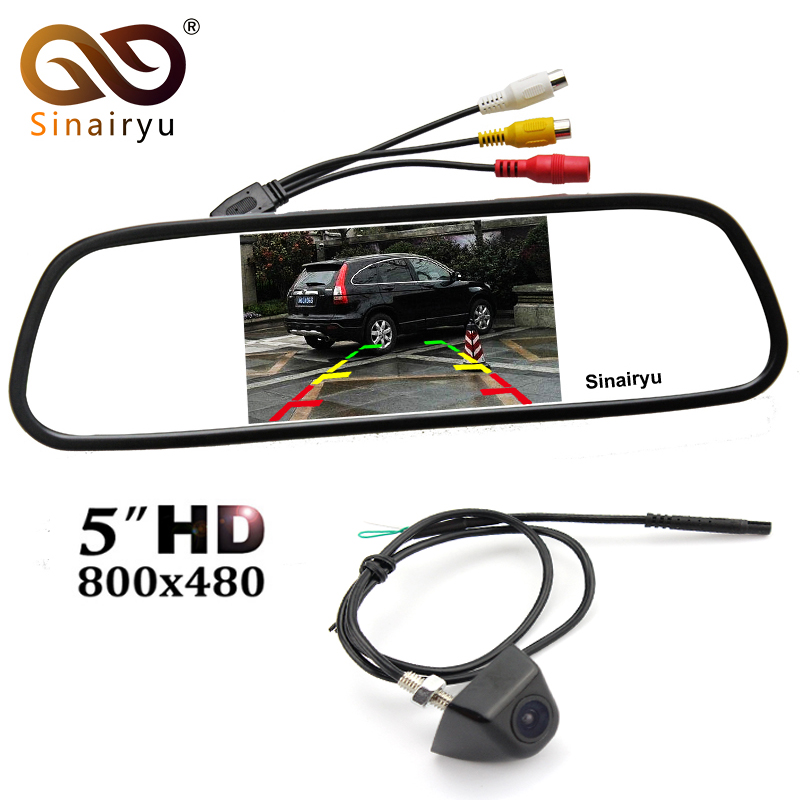 Sinairyu 800x480 TFT Screen 5 Rearview Mirror Parking Monitor With Front Rear View font b Camera