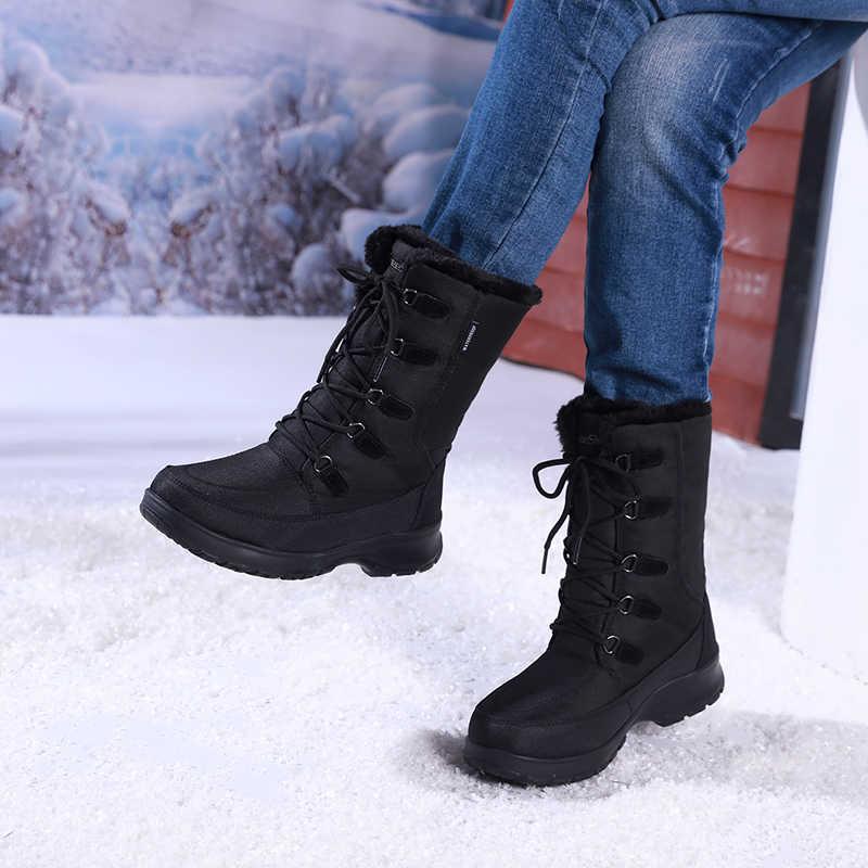 Kış su geçirmez uyluk yüksek çizmeler kadın moda lüks marka naylon lastik çizmeler bayan Lace Up sıcak uzun siyah kar botları kadın