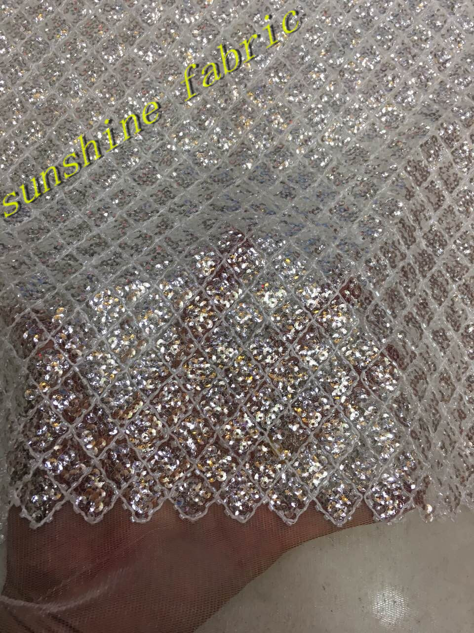 high quality sequins pearls jacquard lace fabric material Silver white  Embroidered beaded lace fabric for wedding 71cae63df3f0