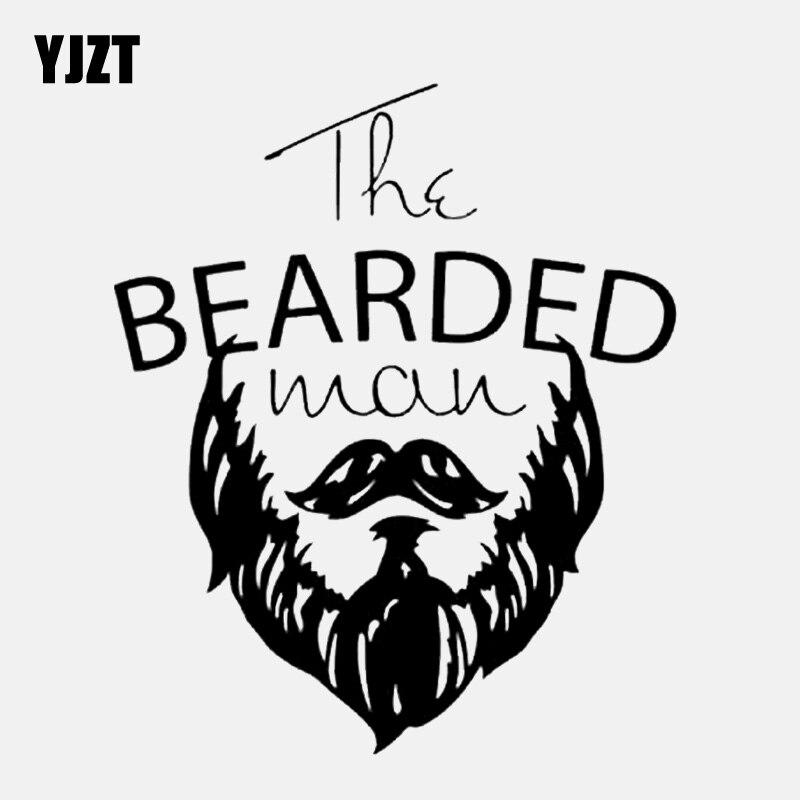 YJZT 13CM*15.4CM Bearded Man Facial Hair Barber Salon Vinyl Black/Silver Car Sticker C22-0278