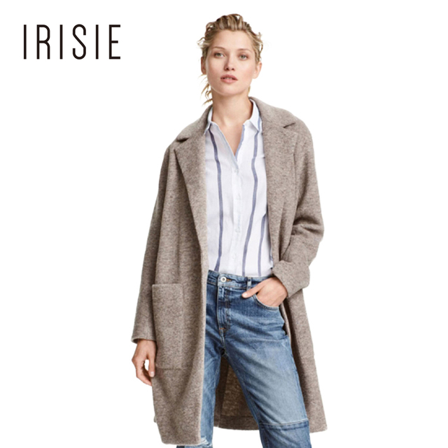 IRISIE Apparel Otoño Chic Suave Femenina Trench Coat Invierno Caliente Ocasional Delgado Mujeres Trench Gris Doble Bolsillos Outwear Básica