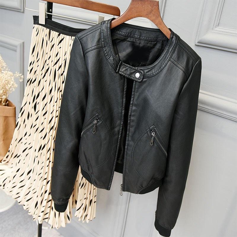 European Style O-Neck Pu   Leather   Jacket Short New Fashion Motorcycle Pu Coat Outwear Women Slim Basic Biker Coat Streetwear