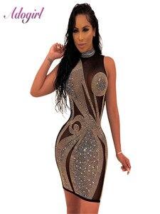 Image 1 - Sexy Evening Party Club Crystal Diamonds Sheer Mesh Bodycon Dress Women Sumdress Casual Halter Sleeveless Mini Summer Vestidos
