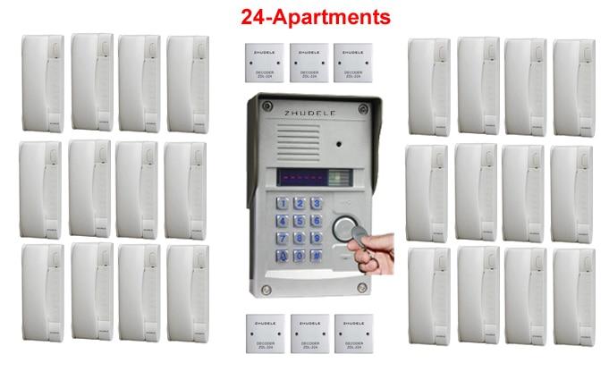Zhudele Top Qualität Sprech Home Security Audio Türsprechanlage Für 24-apartments In Metallgehäuse Außenstation Passworde & Id Karte Um Jeden Preis Türsprechstelle Audio Intercom