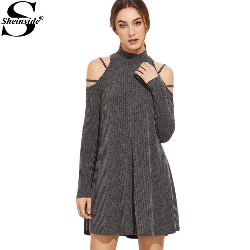 Sheinside New Ladies <font><b>Dresses</b></font> High Quality <font><b>Dress</b></font> Fashion <font><b>Dress</b></font> for Women clothing Grey <font><b>Ribbed</b></font> Knit Strappy <font><b>Cold</b></font> <font><b>Shoulder</b></font> <font><b>Dress</b></font>
