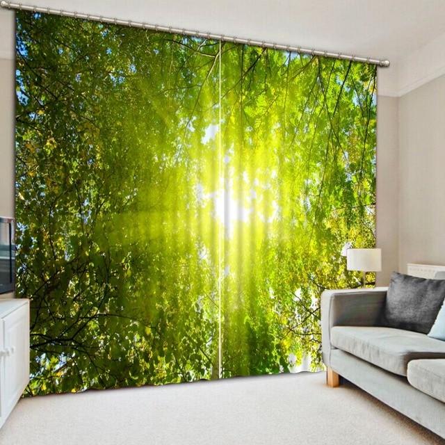 blackout 3d gordijnen voor windows decoratie bos zonlicht slaapkamer woonkamer gordijnen printing groene gordijn