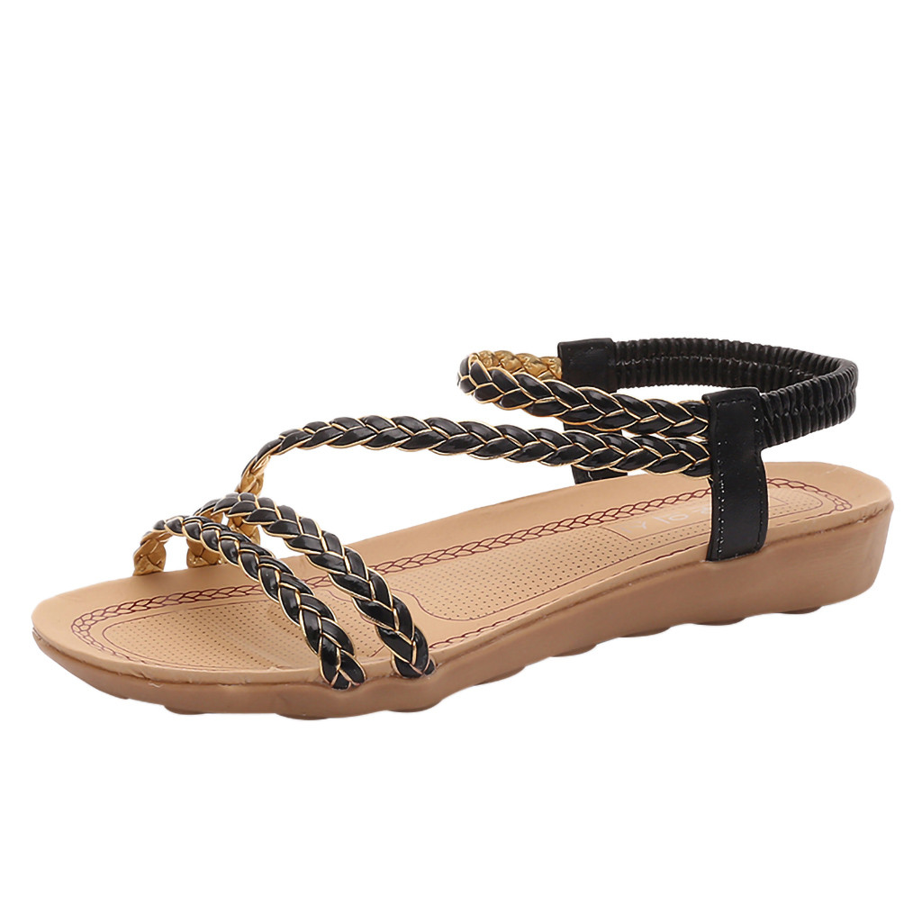 Jaycosin Flat Sandals Woven-Belt Roman Shoes Fish-Mouth Fashion Foreign Trade