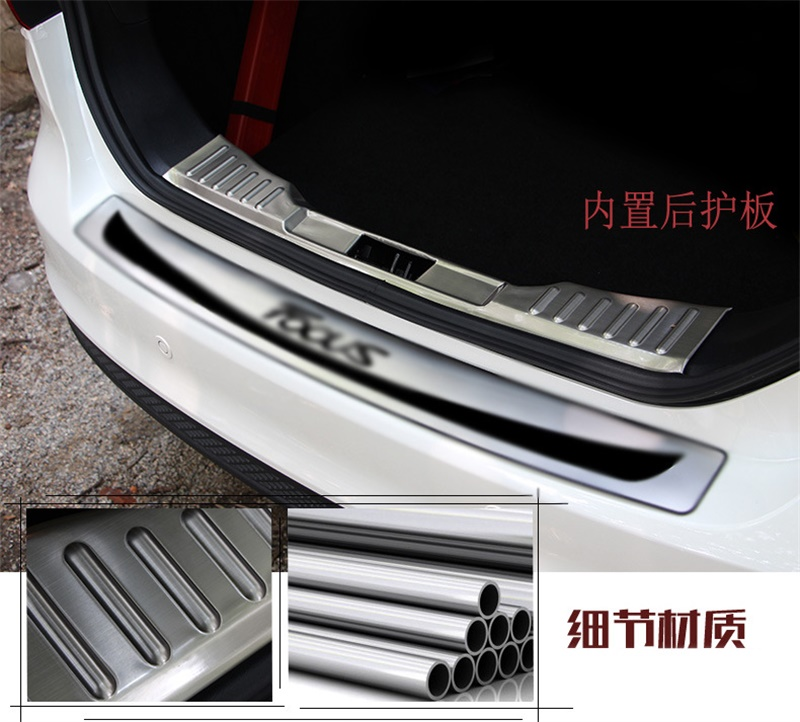 For 2015 Ford Focus 3 mk3 SEDAN Stainless Steel Intenal Rear Trunk Door Sill Scuff Plate car stickers car styling accessories fit for volkswagen vw tiguan rear trunk scuff plate stainless steel 2010 2011 2012 2013 tiguan car styling auto accessories