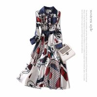 Denim Patchwork Women Brand Runway Swing Dress New 2018 Spring Elegant Spring Office Lady A Line