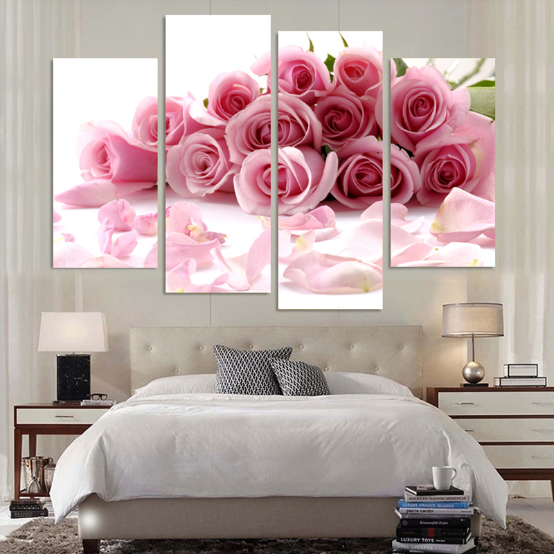 4 Pcs Modular Wall Paintings Beautifully Colour Flower Pink Rose ...