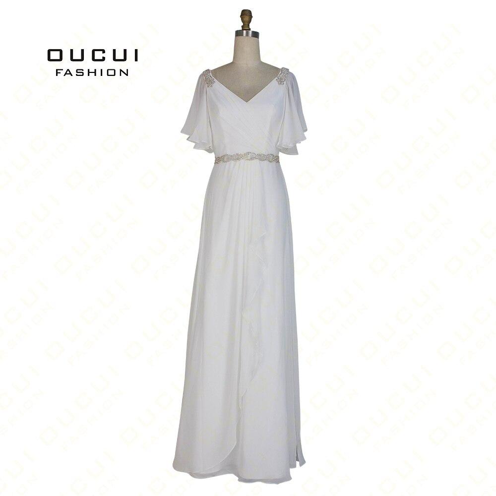 Real Photos Beaded Belt Handmade Chiffon A Line Long   Evening     Dress   Pleat White   dress   Shoulder Crystal OL102852