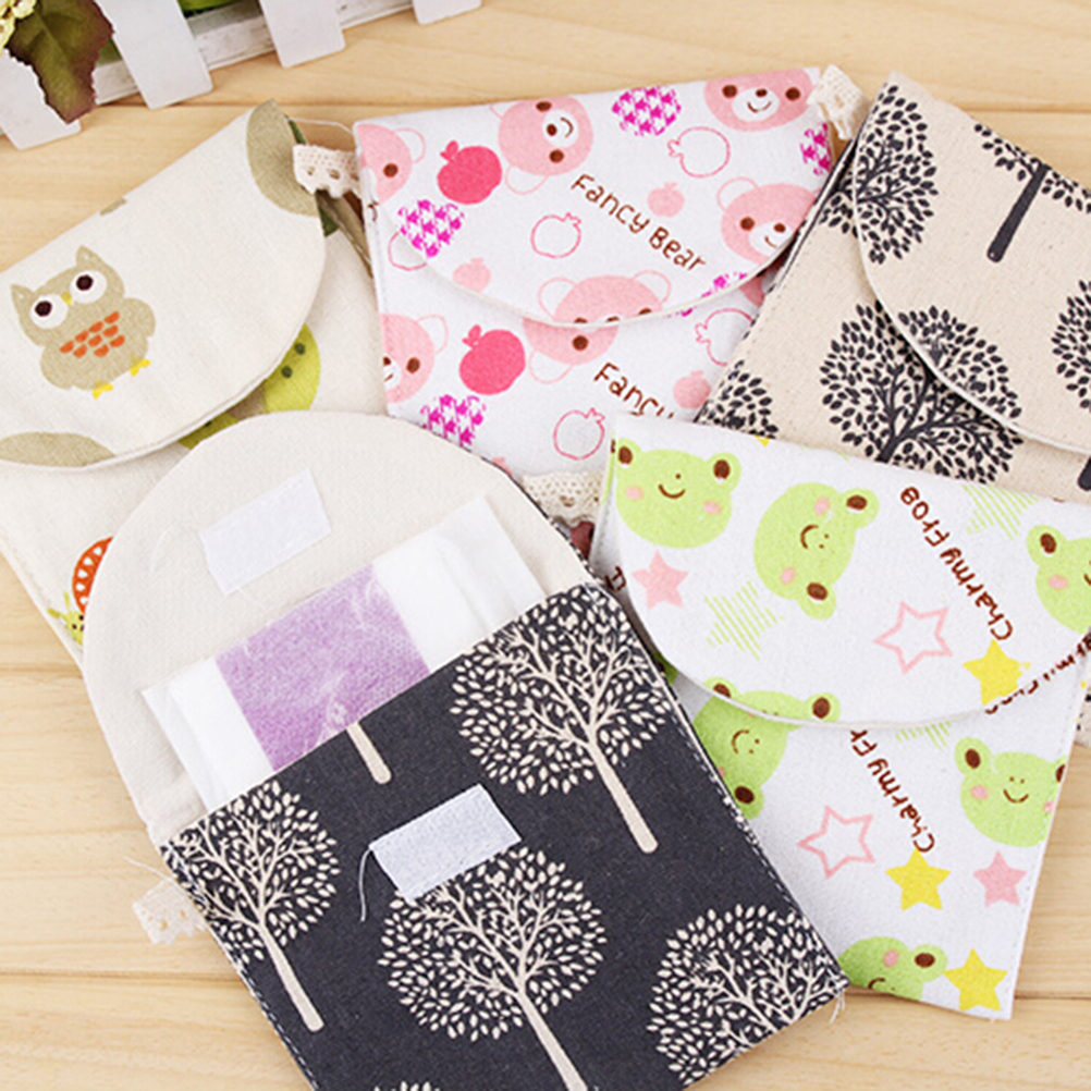1Pcs Traveling Cute Brief Cotton Full Dots  Bags Travel Sanitary Towel Bag 3 Patterns Wholesale