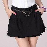 Candy Colors Lady Fashion Chiffon Skirts Plus Size S 3XL Belt Decor Irregular Asymmetric Tiered Women