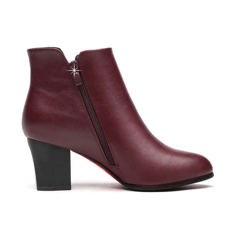 Gerçek Koyun Derisi Deri Çizmeler Yüksek Topuk yarım çizmeler Kadınlar Için Hakiki Deri Çizmeler Yuvarlak Ayak Siyah kırmızı ayakkabılar Fermuar YG-B0026