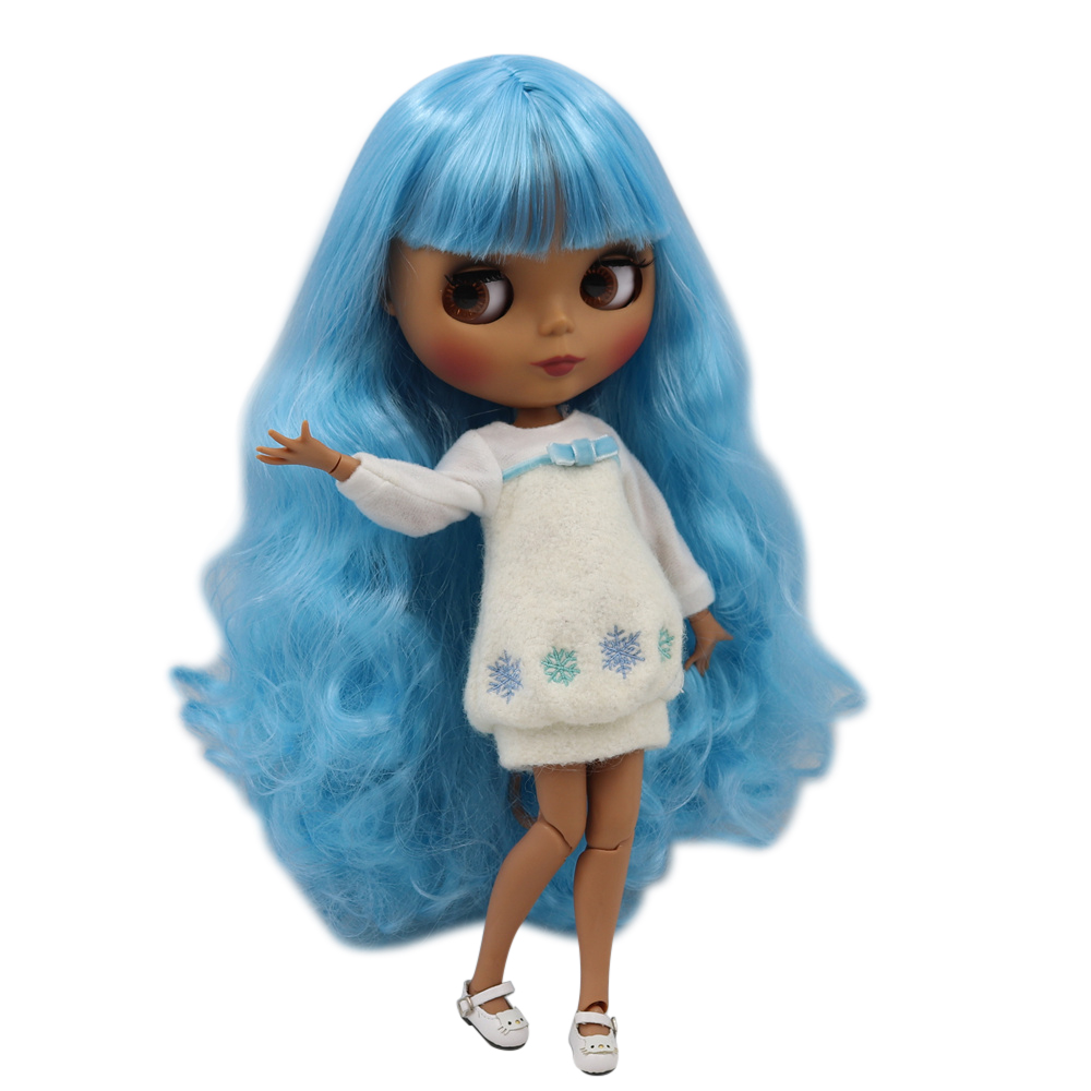 Blyth doll 30cm dark skin matte face Blue soft long curly hair 1 6 JOINT body