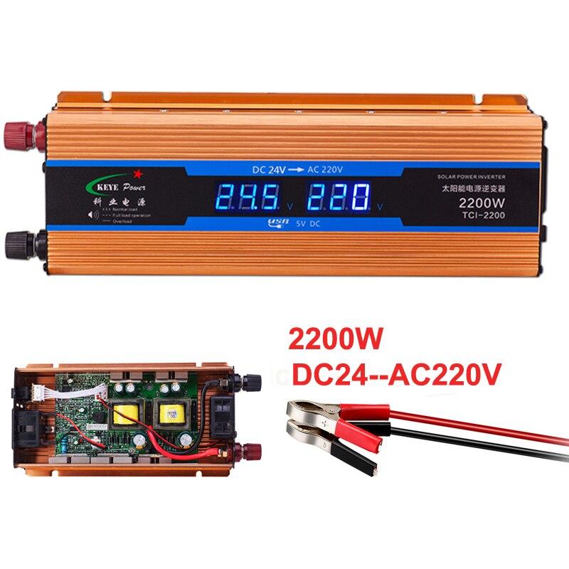 Best Car inverter 2200W 24 V 220 V Voltage Converter 24v to 220v Car Charger Volts display DC to AC 50Hz CY924-CNS цена