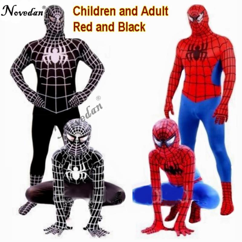 Rot Schwarz Spiderman Kostüm Spinne Mann Anzug Spider-mann Kostüme Erwachsene Kinder Kinder Spider-Mann Cosplay Kleidung