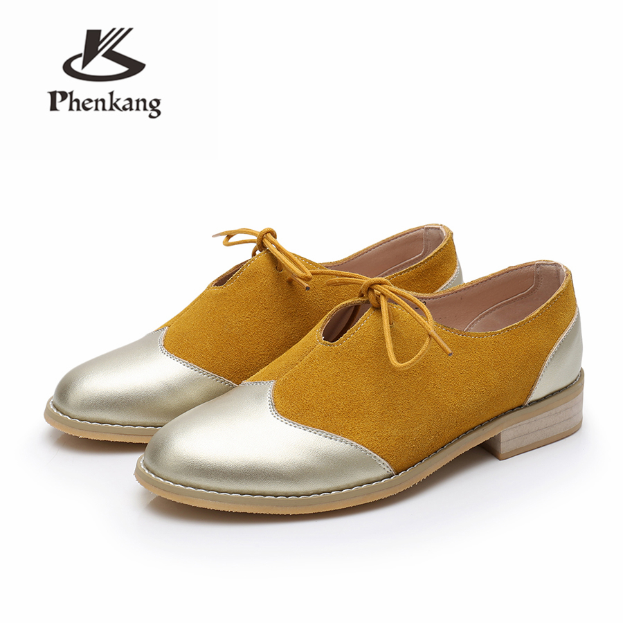 100 Genuine cow leather brogue casual designer vintage lady flats shoes handmade oxford shoes for women