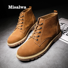 Misalwa Big Size 38-48 Suede Leather Men Boots Ankle Short Lace-up Casual Boots Autumn Anti-skid Snow Boots Men Dropshipping