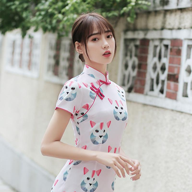 2019 Cute Chinese Clothing Traditional Cheongsam Dress For Girls Cat Print Qipao Dress