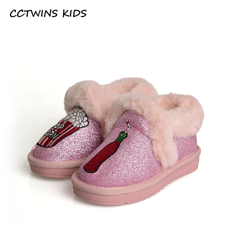 CCTWINS KIDS 2017 Winter Baby Girl Pink BootiesToddler Black Warm Shoe Child Brand Boot Kid Fashion