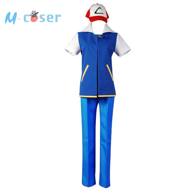 Pokemon Ash Ketchum Costume Cosplay veste à manches courtes T-shirt noir Ash Katchum chapeau ensemble Costume Pokemon pour hommes ensembles Halloween