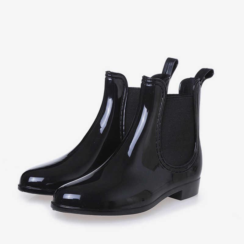 Kadın Bahar yarım çizmeler Elastik Bant Üzerinde Kayma Düşük Topuklu Ayak Bileği yağmur çizmeleri Kadın Kauçuk Su Geçirmez kaymaz Platform Bayan Ayakkabıları