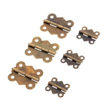 12pcs Mini Butterfly Furniture Hinge 4 Holes Jewelry Gift Wine Box Wood Dollhouse Door Hinge for Cabinet Drawer Jewelry Wood Box 2pcs 52x41mm antique cabinet door hinge furniture accessories wood gift box hinge printing packaging jewelry box diy accessories