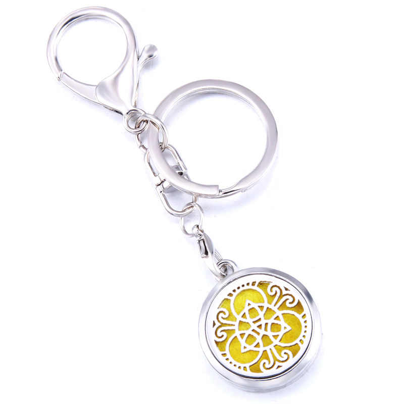Creative Pattern Aroma Keychain Keyring Open Locket Stainless Steel Perfume Aromatherapy Essential Oil Diffuser Car Keychain