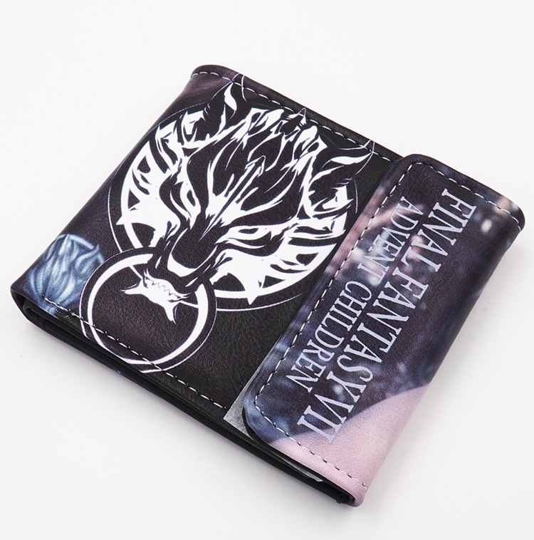 Hot Sale Anime/Game Final Fantasy PU Short Wallet Cloud Strife Wolf Totem Purse japanese anime game final fantasy cloud strife wolf totem pu short wallet purse colorful printing