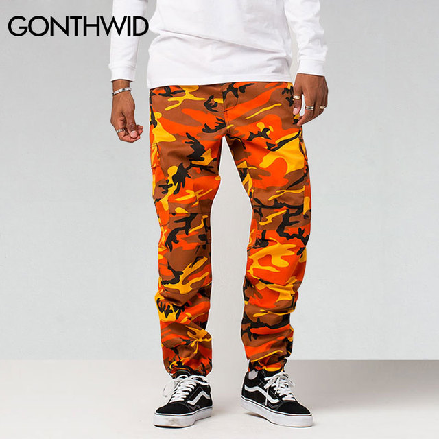 GONTHWID Color Camo Cargo Pants 2019 Mens Fashion Baggy Tactical Trouser Hip Hop Casual Cotton Multi