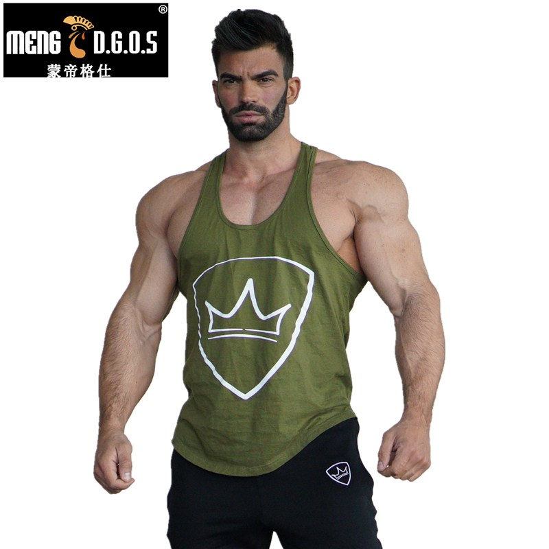 Mens gyms Fitness Tank Tops Bodybuilding cotton Slim fit sleeveless Shirts workout Undershirt Stringer vest tee clothes