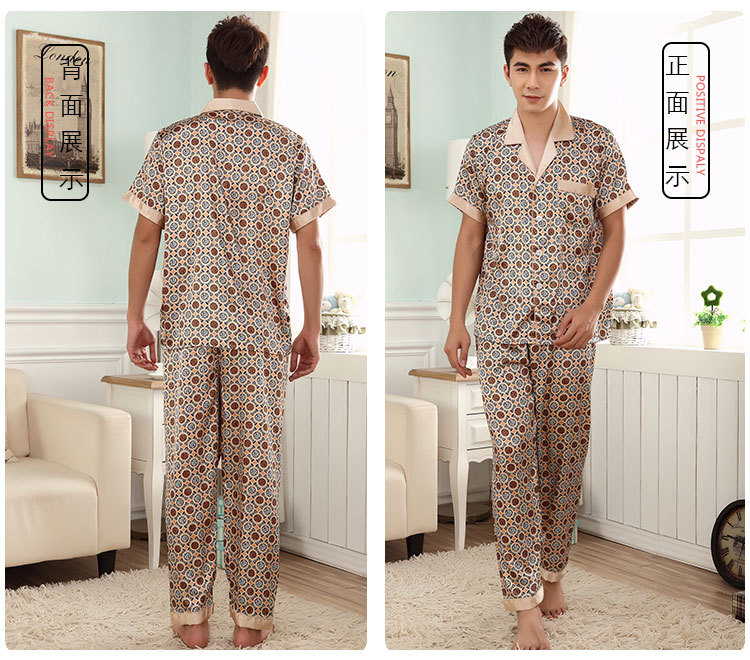 2018 New Luxury Men 39 s Short Sleeved Stain Silk Pajama Set Men Pajamas Silk Sleepwear Sexy Modern Style Satin Nightgown Summer in Men 39 s Pajama Sets from Underwear amp Sleepwears