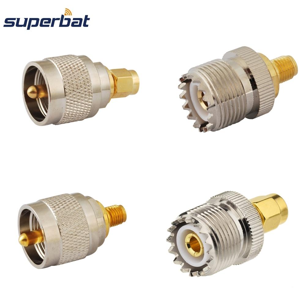 Superbat 4 Pcs SMA-UHF Adapter Kit SMA To UHF 4 Type RF Connectors Set SMA Jack/Plug Male/Female To TNC UHF Nickel Gold Plated