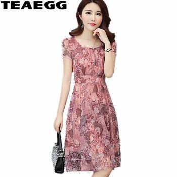 1c82bf775b322a6 TEAEGG летние платья для женщин 2019 элегантное розовое платье шифон халат  в цветочек Винтаж женская одежда плюс размеры 4XL 5XL AL1190