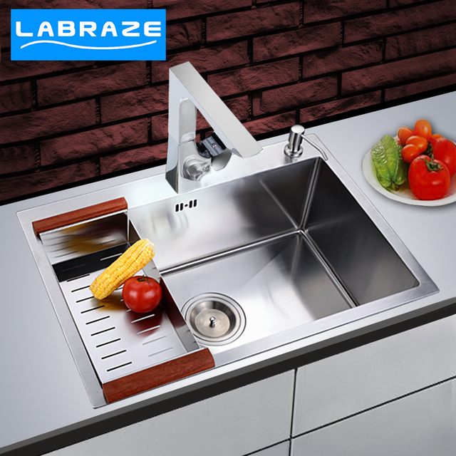 German Laibo Le LABRAZE Brushed Stainless Steel Kitchen Sink Groove Double  Groove Set Manual Vegetable Washing