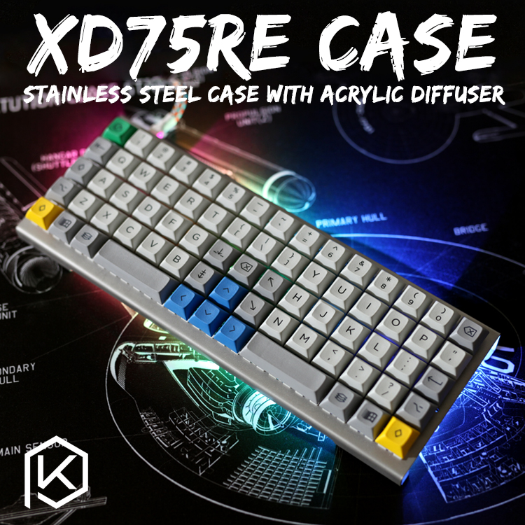 Stainless Steel Bent Case For Xd75re Xd75  Xd75am 60% Custom Keyboard Acrylic Panels Acrylic Diffuser