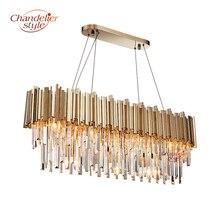 hot deal buy contemporary crystal chandelier lighting fixture modern luxury golden chandeliers hanging light for living dining room decor