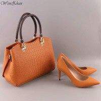 WENZHAN/пикантные женские туфли-лодочки на высоком каблуке; наборы сумочек; Туфли на тонком каблуке с острым носком; красивые кожаные женские т...