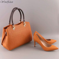 WENZHAN High Heels Women Sexy Pumps With Handbag Sets Thin Heel Pointed Toe Match Beautiful Leather Women Gripesack 0711 16